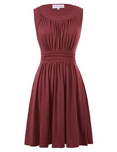Belle Poque Cotton Pleated A-Line Swing Dress Wear to Work Size L Wine Red BP289-7