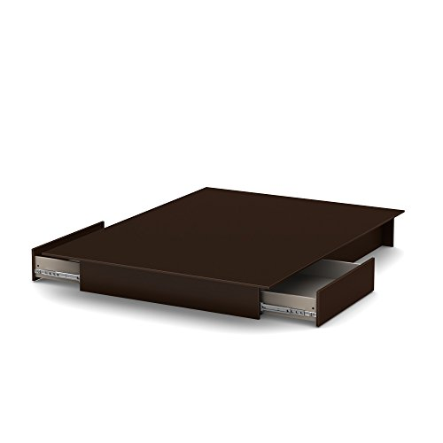South Shore Step One Platform Bed with 2 Drawers, Full/Queen 60-Inch, Chocolate - bedroomdesign.us