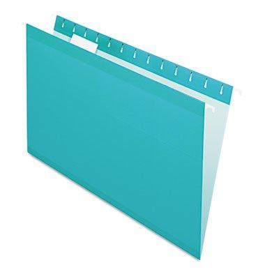 Reinforced Hanging Folders, 1/5 Tab, Legal, Aqua, 25/Box, Sold as 25 Each - Pendaflex Colored Hanging