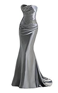 APXPF Women's Long Beaded Mermaid Evening Bridesmaid Dress Formal Prom Gown