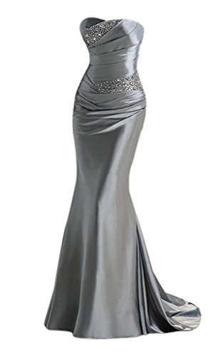(APXPF Women's Long Beaded Mermaid Evening Bridesmaid Dress Formal Prom Gown Silver US8)