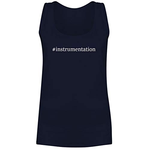 The Town Butler #Instrumentation - A Soft & Comfortable Hashtag Women's Tank Top, Navy, Medium