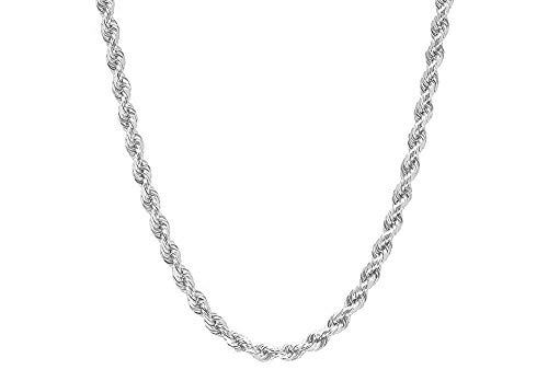 Verona Jewelers Sterling Silver Diamond-Cut Rope Chain Necklace 4.5MM, Solid Braided Twist Rope Chain Necklace, Italian Chain Necklace (22)