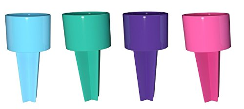 Set of 4 Spiker Plastic Beach Beverage Sand Cup Holders (Blueberry, Teal, Purple, Hot (Purple Sand Beach)