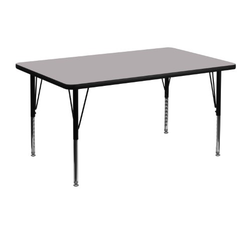 Flash Furniture 30''W x 48''L Rectangular Grey Thermal Laminate Activity Table - Height Adjustable Short Legs