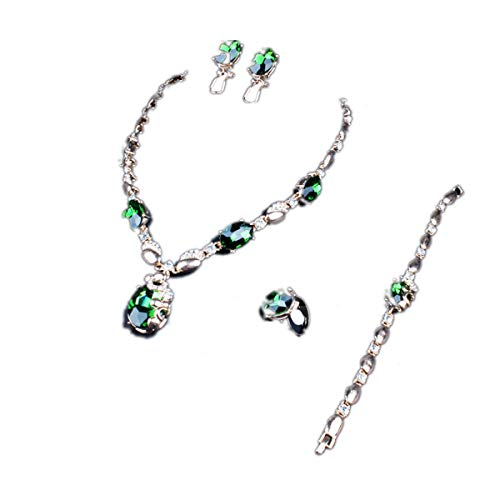 ENUUNO Bridal Costume Jewelry Purple and Green Crystal Choker Pendant Bib Statement Charm Necklace and Earrings Ring Bracelets Sets (Green) ()