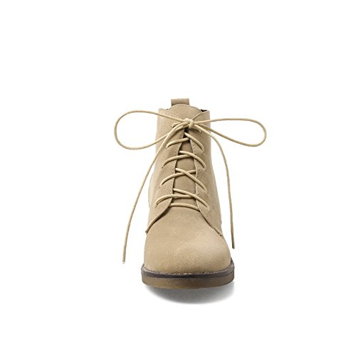 A&N Womens Boots Closed-Toe Lace-Up Adjustable-Strap Low-Heel Warm Lining Nubuck Cushioning Dress Bootie Urethane Boots DKU01890 Beige tjntk7lu