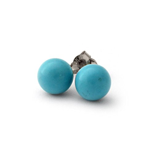 Solid Sterling Silver Rhodium Plated Simulated Light Blue Turquoise Ball Stud Earrings - 4mm ()