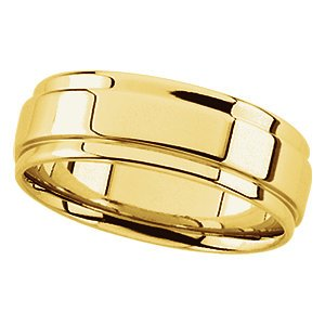14k Gold Flat Edge (Gold -Grooved-Edge Flat Comfort-Fit Band, Size: 10.5)