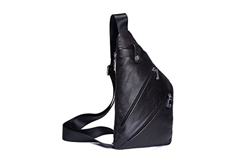 Price comparison product image Chest bag men's leather crossbody bag top layer leather gun bag shoulder soft leather leisure backpack