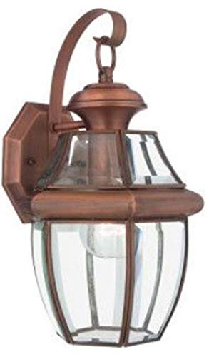 Copper Outdoor Wall Light - Quoizel NY8315AC Newbury Outdoor Wall Lantern Wall Mount Lighting, 1-Light, 150 Watt, Aged Copper (12