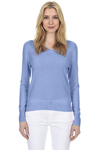 - State Fusio Women's Cashmere Wool Long Sleeve Pullover V Neck Soft and Classic Fashion Sweater Angel Blue