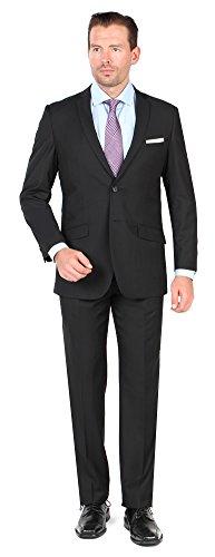 Tazio Mens 2 Button 2 Piece Slim Fit Suit 42L Black