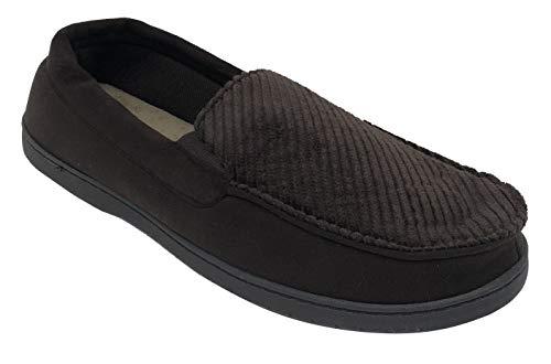 Dearfoams Men Corduroy Memory Foam Moccasin Slippers Coffee XL 13-14 (Slippers Mens Washable)