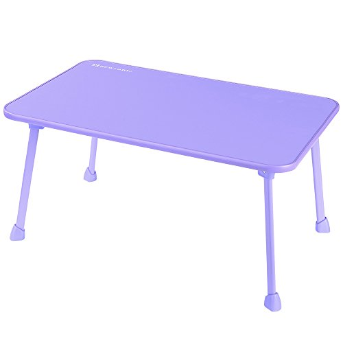 Laptop Bed Tray NNEWVANTE Laptop Desk for Bed Sofa Lap Desk Foldable Portable Standing Outdoor Camping Table, Breakfast Reading Tray Holder for Couch Floor Students Young Color(Purple) (Folding Breakfast Table)