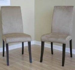 Cream MicroFiber Dining Chair Set Of 2