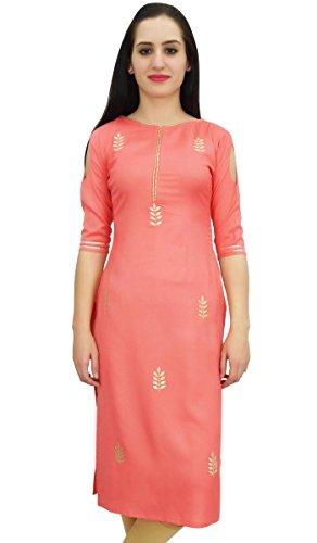 Bimba Women's Peach Tunic Embroidery Designer Kurti Indian Festive Kurta-12 – ladies kurta Review