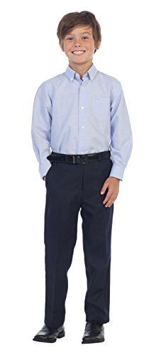 Gioberti Boys Flat Front Dress Pants, Navy, 7 Navy Flat Front Dress Pants