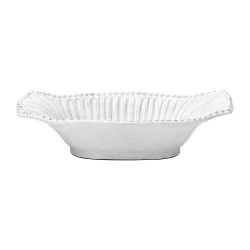 Vietri INC-1154 Incanto Stripe Small Au Gratin Dish, White