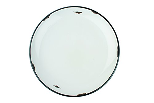 (Canvas Home Ltd C28-DP-CB Canvas Home Tinware Dinner Plate with Black Rim, Cashmere Blue-Pack of 4, Glazed Stoneware)