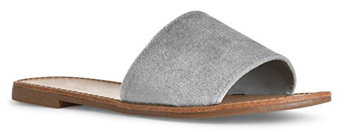 Flop Grey On Flip Women Sandals Velvet Flat Slide Slip On Summer wZ78q