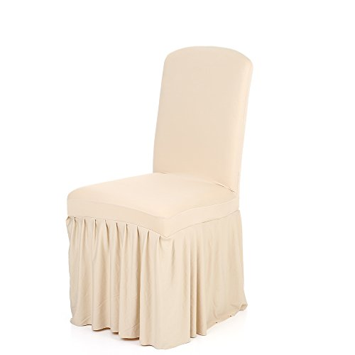 Anself Pleated Dining Chair Cover Spandex Seats Slipcover for Wedding Party Hotel, Champagne (Chair Chic Covers)