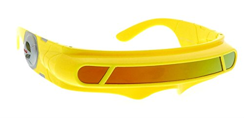 WebDeals - Futuristic Cyclops Wrap Around Monoblock Shield Sunglasses (Yellow, Red/Orange - Sunglasses Around Wrap Space