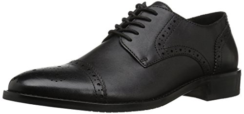 206 Collective Mens Georgetown Cap-Toe Oxford Black Leather