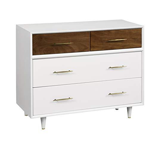 Babyletto Eero 4-Drawer Assembled Dresser, White/Natural Walnut - Nursery Walnut Dresser