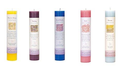 Herbal Magic Pillar Candle (Crystal Journey Reiki Charged Herbal Magic Pillar Candle Bundle of 5 (Positive Energy, Healing, Good Health, Love, Dreams))