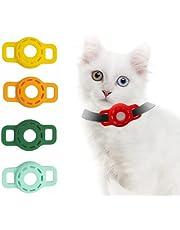 Fuwu, Apple Air Tag, 4 Fundas de Silicon Air Tag Gato localizador GPS Tracker, Funda Air Tag localizador de Mascotas, Varios Colores. (A)