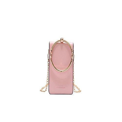 Meaeo Moda Cadena Bandolera Verano Femenino Nuevo Vertical Pequeño Bolso Cuadrado Rosa Pink