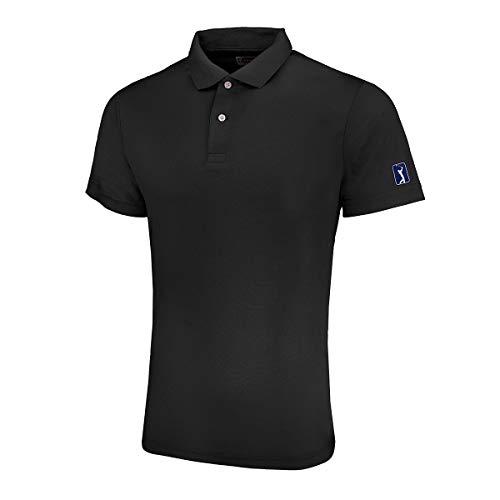 (PGA TOUR Men's Knit Polo Black L)