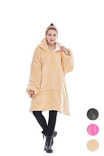 Oversized Sweatshirt Blanket,Sherpa Hoodie Wearable Blanket, Reversible, Warm, Soft, Cozy,Large Pocket, One Size for Adults & Children (Camel) ()