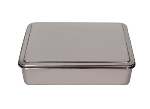 YBM HOME Stainless Steel Covered Cake Pan, Silver