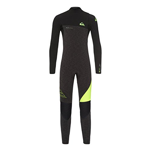Quiksilver 3/2mm Highline Series Zipperless Youth Boys Wetsuits - Black Heather/Safety Yellow / 16
