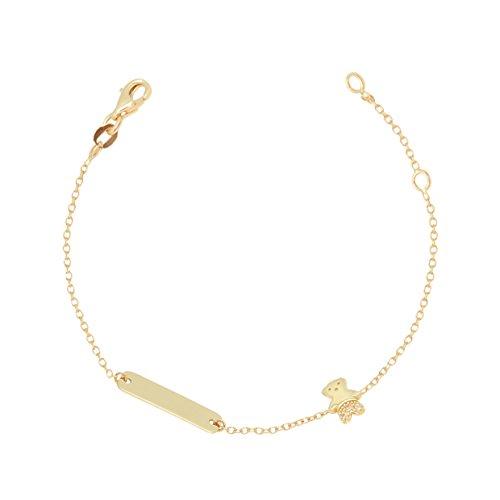 UNICORNJ Childrens Toddler 14k Yellow Gold Cubic Zirconia Teddy Bear ID Bracelet 5.75'' by Unicornj