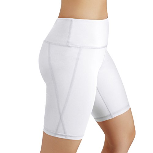 ODODOS Power Flex Women's Tummy Control Workout Running Shorts Pants Yoga Shorts With Hidden Pocket, White, XX-Large