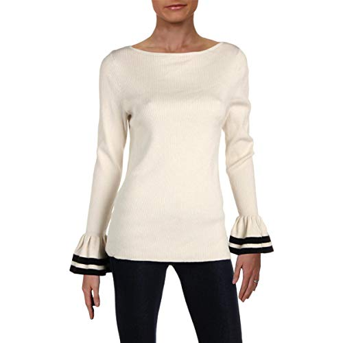 LAUREN RALPH LAUREN Womens Petites Bell Sleeve Striped Pullover Sweater Ivory PL