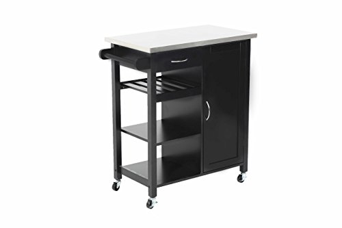 Oliver and Smith - Nashville Collection - Mobile Kitchen Island Cart on Wheels - Black - Stainless Steel Top - 32'' W x 17'' L x 36'' H 102118-01blk by LIFE Home