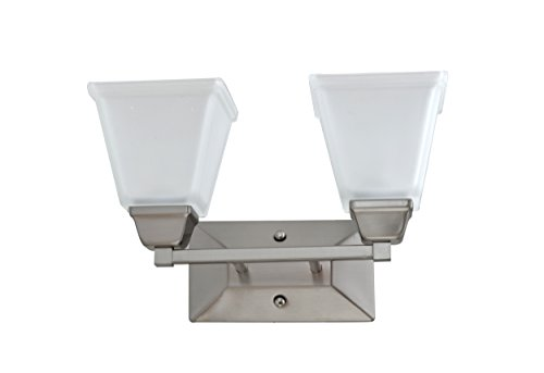 IN HOME 2-Light VANITY/BATHROOM FIXTURE VF37, Brushed Nickel Finish with Satin Etched Glass Shade, UL listed by IN HOME