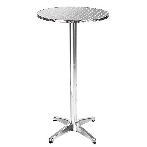 TecTake Mesa de bar bistro de aluminio altura ajustable 70 o 110 cm - Diametro de la pata: 5,8 cm - 7,6 kg - varios modelos - (Frederic | No. 401488)