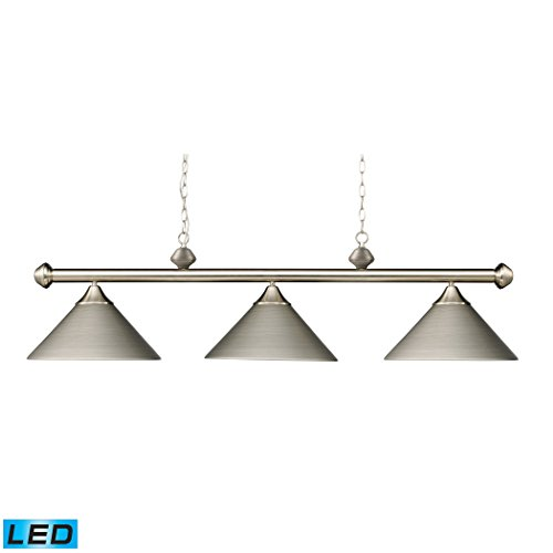 Casual Traditions 3-Light Billiard/Island In Satin Nickel With Metal Shades - LED (3 Traditions Light Casual)