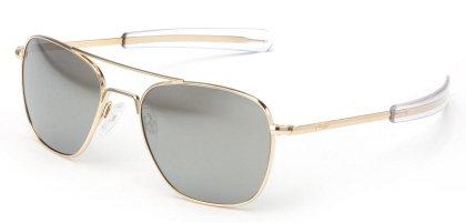 Randolph AVIATOR 23K Gold Frame (Bayonet Temple Style) (Gray Flash Mirror, 55mm) by Randolph Eyewear