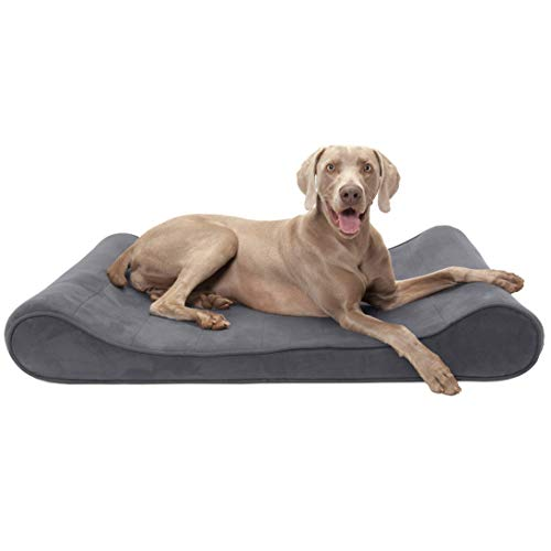 FurHaven Pet Dog Bed | Orthopedic Microvelvet Luxe Lounger Pet Bed for Dogs & Cats, Gray, Jumbo (Renewed)