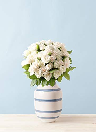 HitoHana(ひとはな) バラ グラスブーケ ホワイト L (50本入) Omaggio (オマジオ) ベース L ライトブルー付き B07KCHPPY6