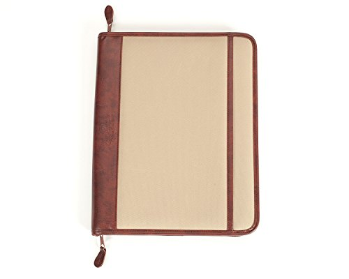 Professional Business Case Portfolio Padfolio Organizer Folder With iPad Mini, Kindle or Tablet Sleeve, Zipper, Card Holders, Pen Holder, Document Folder, and Front Paper Holder - Tan Photo #2