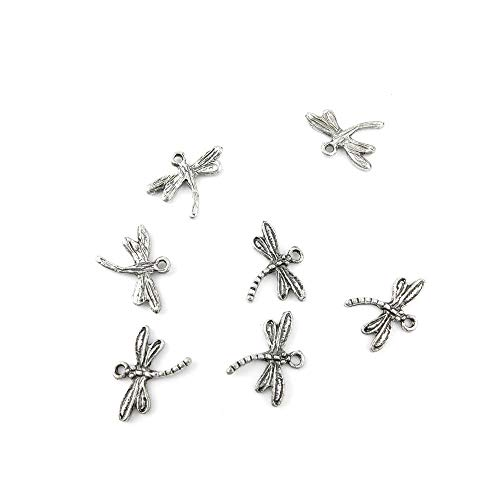 Qty 50 Pieces Ancient Silver Jewelry Making Charms Findings H0380 Dragonfly Pendent Bulk for Bracelet Necklace]()