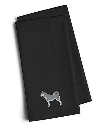 Caroline's Treasures BB3480BKTWE Siberian Husky Black Embroidered Kitchen Towel (Set of 2), 28