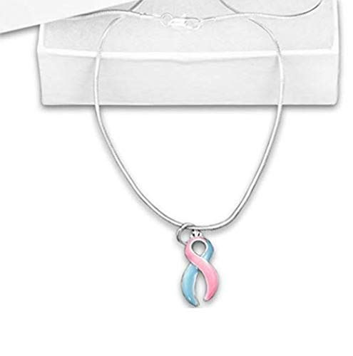 Fundraising Infant Loss Pink & Blue Ribbon Necklace with Infant Loss Charm]()